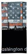 Washington Dc Skyline Usa Flag Bath Towel