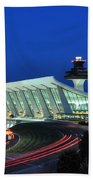 Washington Dulles International Airport At Dusk Bath Towel