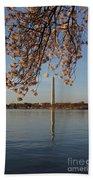 Washington Monument With Cherry Blossoms Bath Sheet by Megan Cohen