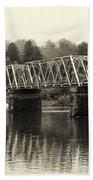 Washington's Crossing Bridge On A Rainy Day Bath Towel