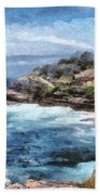 Water Cove With Rocky Cliffs Bath Towel