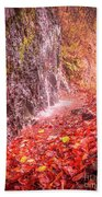 Water Dripping On The Rock Wall Bath Towel