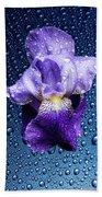 Water Drops On Purple Iris Bath Towel