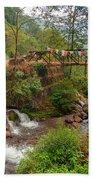 Water Flowing Through Rocks Kukhola Falls Sikkim Bath Towel