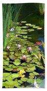Water Lilies And Koi Pond Bath Towel