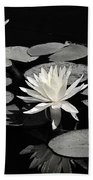 Water Lilies In Black And White Bath Towel