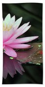 water lily 92 Sunny Pink Water Lily with Lily Pad Bath Towel