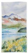Watercolor - Colorado Alpine Landscape Bath Towel