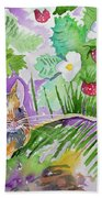 Watercolor - Field Mouse With Wild Strawberries Bath Towel