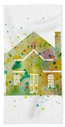 Watercolor House  Bath Towel