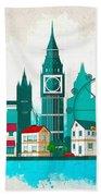 Watercolor Illustration Of London Bath Towel