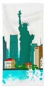 Watercolor Illustration Of New York Bath Towel