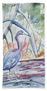 Watercolor - Little Blue Heron In Mangrove Forest Bath Towel