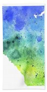Watercolor Map Of Alberta, Canada In Blue And Green  Bath Towel