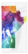 Watercolor Map Of Manitoba, Canada In Rainbow Colors  Bath Towel