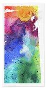 Watercolor Map Of Saskatchewan, Canada In Rainbow Colors  Bath Towel