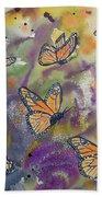 Watercolor- Monarchs In Flight Bath Towel