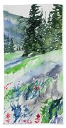 Watercolor - Mountain Pines And Indian Paintbrush Bath Towel