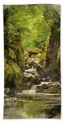 Watercolor Painting Of Beautiful Ethereal Landscape Of Deep Sided Gorge With Rock Walls And Stream F Bath Towel