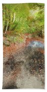 Watercolor Painting Of Beautiful Landscape Image Of Forest Covered In Autumn Fall Color Contrasting  Bath Towel