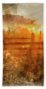 Watercolor Painting Of Beautiful Sunrise Landscape Over Foggy English Countryside With Glowing Sun Bath Towel