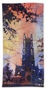 Watercolor Painting Of Duke Chapel On The Duke University Campus Bath Towel