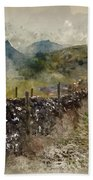 Watercolor Painting Of Stunning Landscape Of Chrome Hill And Parkhouse Hill Dragon's Back In Peak Di Bath Towel