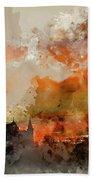 Watercolor Painting Of Winter Frosty Sunrise Landscape Salisbury Bath Towel