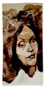 Watercolor Portrait Of A Woman With Bad Hair Day Bath Towel