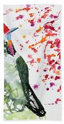 Watercolor - Rainbow Bearded Thornbill Bath Towel