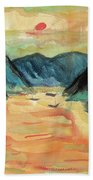 Watercolor River Scenery Bath Towel