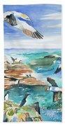 Watercolor - Seabirds Of The North Atlantic Bath Towel