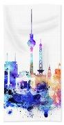 Watercolor Skyine Of Berlin, Germany Bath Towel