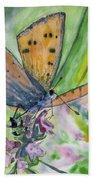 Watercolor - Small Butterfly On A Flower Bath Towel