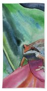 Watercolor - Small Tree Frog On A Colorful Flower Bath Towel