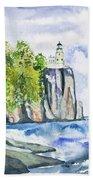 Watercolor - Split Rock Lighthouse Bath Towel
