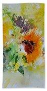 Watercolor Sunflowers Bath Towel