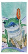 Watercolor - Tree Frog Bath Towel
