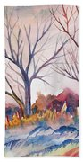 Watercolor - Trees And Woodland Meadow Bath Towel