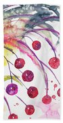Watercolor - Winter Berry Abstract Bath Towel
