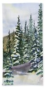 Watercolor - Winter Snow-covered Landscape Bath Towel