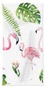 Watercolour Flamingo Family Hand Towel