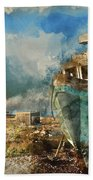 Watercolour Painting Of Abandoned Fishing Boat On Beach Landscap Bath Towel