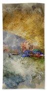 Watercolour Painting Of Low View Through Rialto Bridge Along Gra Bath Towel