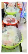 Watercolour Painting Of Sushi Dishes On The Belt Bath Towel