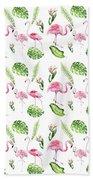 Watercolour Tropical Beauty Flamingo Family Hand Towel
