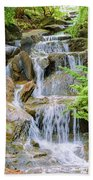 Waterfall In The Vandusen Botanical Garden 1 Bath Towel