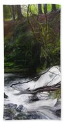 Waterfall Near Tallybont-on-usk Wales Bath Towel
