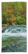 Waterfall On Little Pigeon River Smoky Mountains Bath Towel