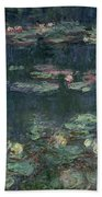 Waterlilies Green Reflections Hand Towel by Claude Monet